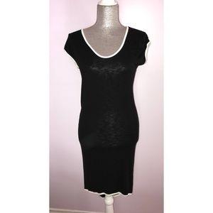 White trim black dress